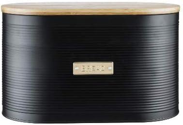 GR RG – Fiambrera Negra con Tapa de Madera Metal – Caja de Almacenamiento Living – Fiambrera para el Pan – Diseño Moderno Bread Negro Alto: Amazon.es: Hogar