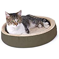 K&H Pet Products 3701 Thermo-Kitty Cuddle Up Heated Pet Bed Mocha 16