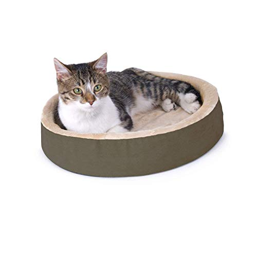 K&H Pet Products 3701 Thermo-Kitty Cuddle Up Heated Pet Bed Mocha 16″ 4W