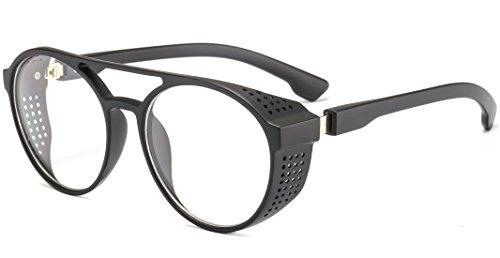 Aviator Round Sunglasses for Men and Women Steampunk Style Inspired Designed PC Frame (Black Frame Transparent Lens)