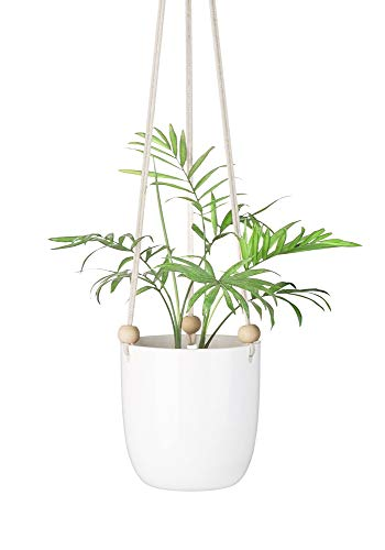 Mkono Ceramic Hanging Planter Macrame Plant Holder Succulent Flower Pot with Wood Beads (Containers Hanging Plant)