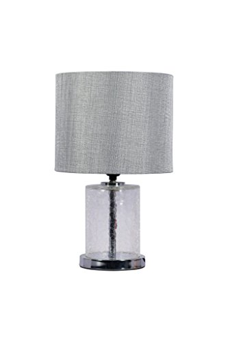 Anodetude,Glass Pedestal Table Lamp, Glass Base on Chrome Metal Trim, Includes Linen Fabric Shade and LED Bulb (Chrome Glass Desk Lamp)