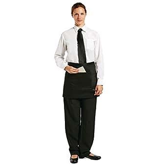 Delantal Bistro - delantal Negro Corto con un bolsillo de parche.
