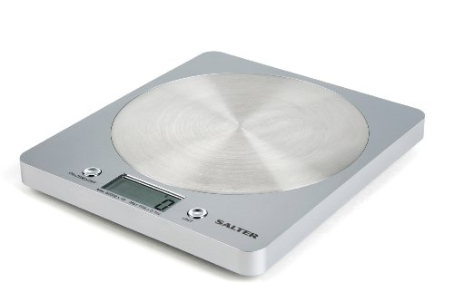 Salter Digital Kitchen Weighing Scales - Slim Design Electronic Cooking Appliance for Home / Kitchen, Weigh Food up to 5kg + Aquatronic for Liquids ml and fl. Oz. 15Yr Guarantee - Silver