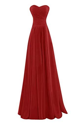 Lang Farbe Chiffon Cocktailkleider Einfach Mia Viel Heimkehr Partykleider Brautjungfernkleider Rot Tanzenkleider Rot La 1PXxq1