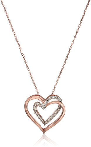 - 10k Rose Gold Diamond Double Heart Pendant Necklace, 18