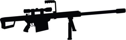 Barrett 50 Caliber Gun Rifle Decal Window Sticker (WHITE COLOR DECAL) - Die Cut Decal Bumper Sticker For Windows, Cars, Trucks, Laptops, Etc. (Best 50 Cal Rifle)