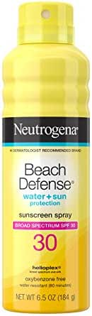 Neutrogena Beach Defense Body Spray Sunscreen with Broad Spectrum SPF 30, Water-Resistant and Oil-Free Sun Protection, 6.5 oz