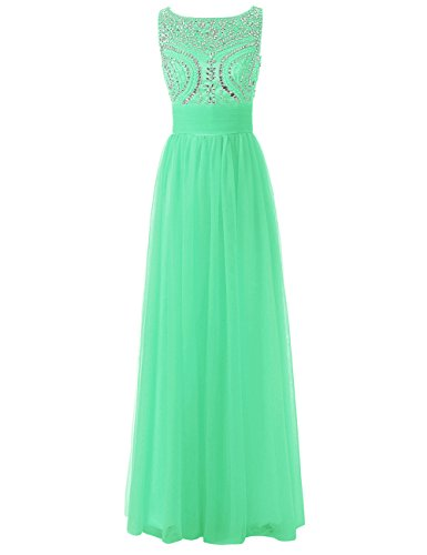 Tulle Women's Gown Top Formal Party Bridesmaid Party Dresses Dress Mint Evening Prom Beading JAEDEN Long U1qaxII