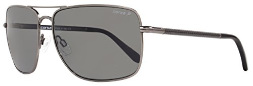 Polarized Cr Lenses 39 Gray - Corsa Rectangular Sunglasses Enzo C06 Gunmetal/Carbon Fiber Polarized