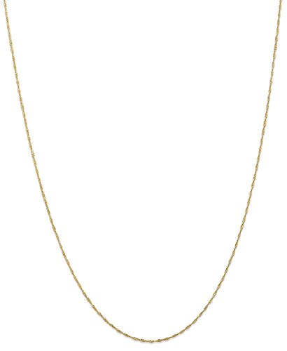 ICE CARATS 14k Yellow Gold 1mm Link Singapore Chain Necklace 18 Inch Fine Jewelry Gift Set For Women Heart 14k Gold Designer Necklace