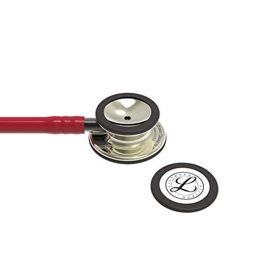 3M Littmann Classic III Monitoring Stethoscope, Champagne - Finish Chestpiece, Burgundy Tube, Smoke Stem and Headset, 27 inch, 5864