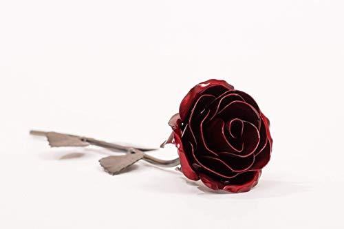 Personalized Gift Hand-Forged Wrought Iron Red Metal Rose - Valentine's Day ()