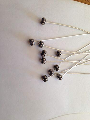 10 .925 Bali Sterling Silver Flower Head Pins 2 7/16