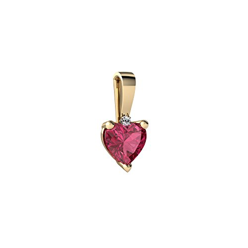 14kt Yellow Gold Pink Tourmaline and Diamond 5mm Heart Solitaire Pendant