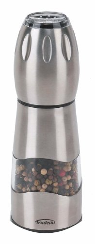 Trudeau Click Combo Pepper Mill with Salt Shaker, Stainless Steel Finish