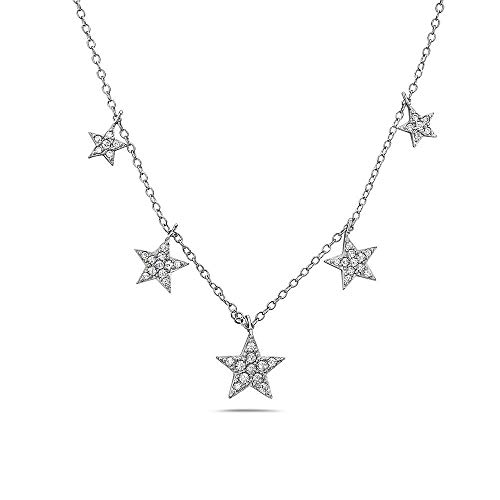 Crush & Fancy Star Necklace | 925 Sterling Silver and Five Glimmering Crystal Star Charms in White Tone | Adjustable 16-18 inches | - Crystal Star Tipperary