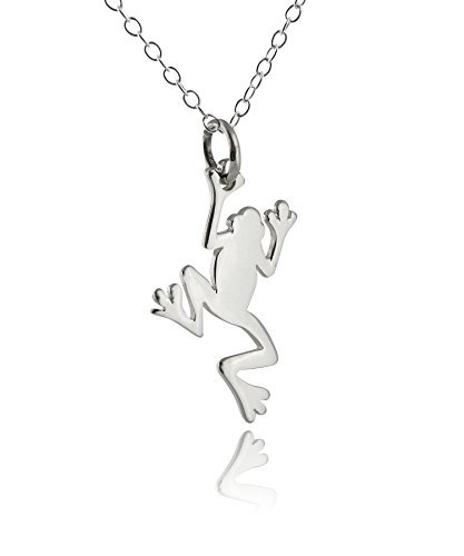 FashionJunkie4Life Sterling Silver Tiny Jumping Tree Frog Charm Necklace, 18