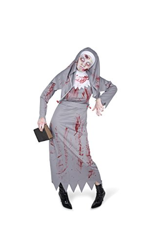 Karnival Women's Zombie Nun Costume Set - Perfect for Halloween, Costume Party Accessory. Trick or Treating (M) Grey