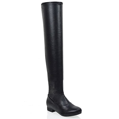LADIES THIGH HIGH FLAT HEEL WOMENS OVER THE KNEE HIGH STRETCH BOOTS SIZE Black Synthetic Leather 8bVQcOT5