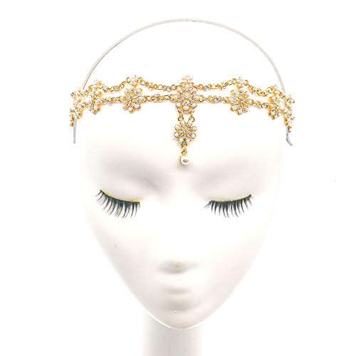 Gonioa Head Chain Jewelry Headband Crystal Bohemian Hair Accessories with Peal Women Head Chains Forehead Chain Rhinestone Headpieces with Drop Pendant (Chain Headpiece Gold)