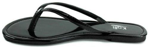 Black Patent Flip Flops (Kali Footwear Women's Twins Basic Patent Flat Thong Sandal, Black 8)