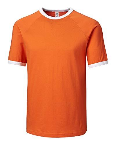 Clique Men's Playlist Ringer Tee-College Orange-S - Orange Ringer T-shirt
