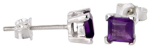 Square Princess Cut Natural (February Birthstone, Natural Amethyst 0.40 Carat (4 mm) Size Princess Cut Square Stud Earrings in Sterling Silver Basket Setting)