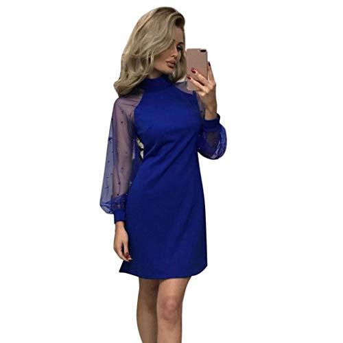 56768407d49b Nuove Lungo Donne Manicotto Casuale Modo Dall anca Delle Vestiti  Rappezzatura Della Vestito Del Creine Sexy Blu Di Pacchetto f7Yby6g