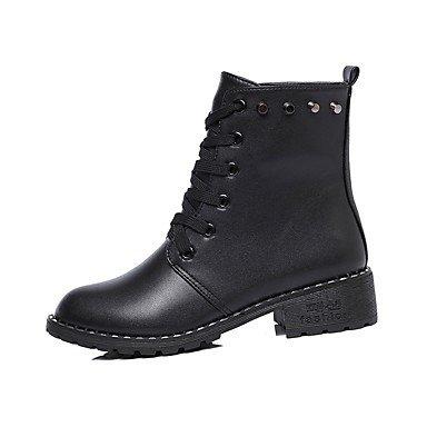 RTRY Zapatos De Mujer Otoño Pu Botas Botas De Combate Bajo El Talón Puntera Redonda Lace-Up For Casual Negro Us5.5 / Ue36 / Uk3.5 / Cn35 US6 / EU36 / UK4 / CN36