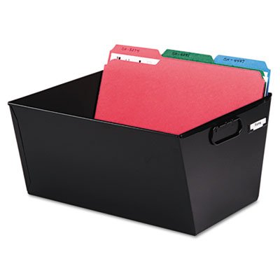 Perfect for transporting, sorting and posting files. - MMF INDUSTRIES Posting Tub Storage Box, Legal, Steel, 15-1/8 x 11-3/8 x 7, Black