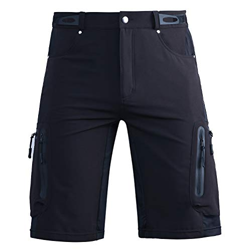 Hiauspor Men-Hiking-Climbing-Cargo-Shorts-Short Black