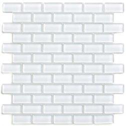 White 1x2 Mini Glass Subway Tile 1