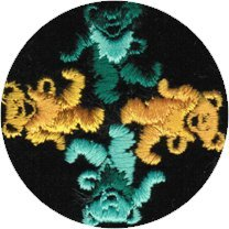 4 Dancing Bears - Green And Yellow In Black Circle - Embroidered Iron On Or Sew On Patch