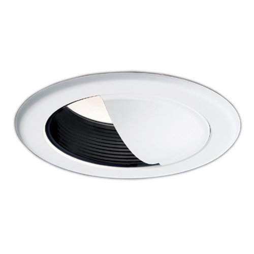 (HALO Recessed 430P 6-Inch Wall Wash Trim with Black Baffle, White)