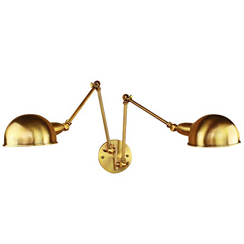 (NIIUYAO Wall Light Fixture Swing Arm Pewter Wall Lamp Industrial Retro Rustic Loft Antique Wall Lamp Edison Vintage Pipe Wall Sconce Decorative Fixtures Lighting 2 Light (Gold))