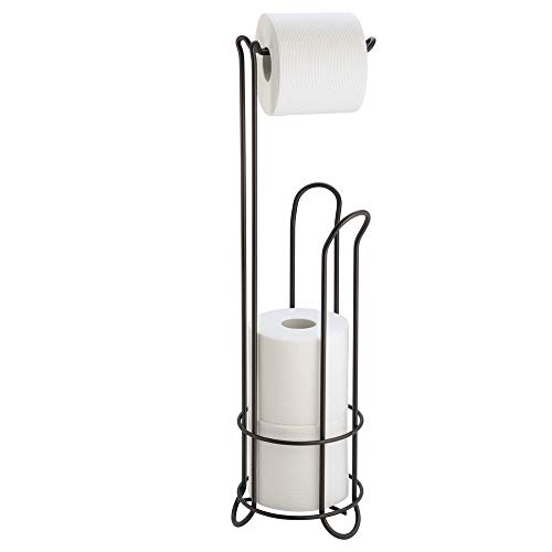 InterDesign Classico Metal Free Standing Toilet Paper Tissue Holder, Roll Reserve Canister for Kids', Guest, Master, Office Bathroom, 6.5
