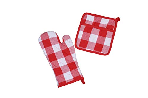 (100% Cotton Buffalo check Red White Oven Mitt & Potholder Set, Heat Resistant Kitchen Linens Set for Cooking, Baking, Grilling, Barbecue)