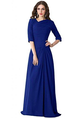 sunvary Vintage Madre de vestidos de novia con la mitad manga gasa azul real
