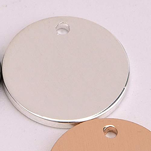 Laliva 20pcs/lot 12mm Round tag Disc Copper Carving Logo Annulus Loop Coins Shape for DIY Earring Jewelry Making Collares - (Color: Silver)