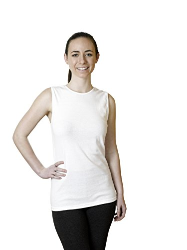 Rosette Woman's Cotton Sleeveless Undershirt, Smooth and Seamless Tank Top, Large, White