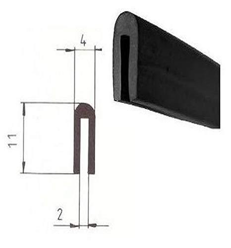 EUTRAS FP3010 Fassungsprofil 2,0 mm Kantenschutz Gummiprofil schwarz Meterware
