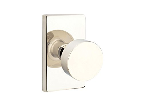 Privacy Set, Modern Rectangle Rosette, Modern Round Knob, Polished Nickel