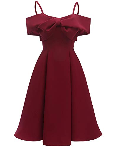 Pengy Women's Suspender Butterfly Dress Knot Big Sway Sexy High-Grade Satin Dresses Ladies Short Sleeve Dress Red]()