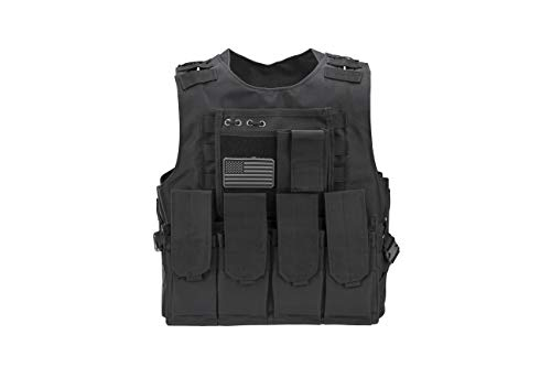 Tactical Airsoft Paintball Vest, Mil Spec 1000D Nylon PALS Molle Modular w/ 4 Mag Pouches, Side Pouch, Chest Mag Pouch+ Free US Flag Patch