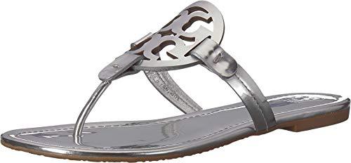 Tory Burch Women's Miller Silver Metal Leather Sandal 38()-8(US) ()