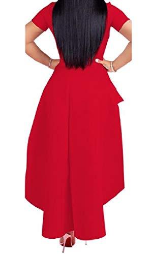 Plus Balza Metà Coolred Corta Sexy Vestito Manica Cerniera Irregolare Lungo Rosso donne size Della Yzgvqwq
