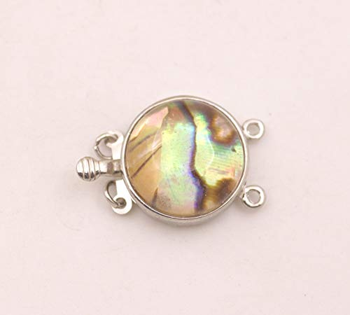Laliva 2 Rows 18mm Natural Abalone Round Button Shell Metal Clasp Jewelry Findings