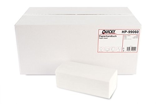 Quicky Papieren handdoek, ZZ-vouw, 25 x 23 cm, 2-laags, hoogwit, 4000 vellen, 1-pak (1 x 1 stuks)