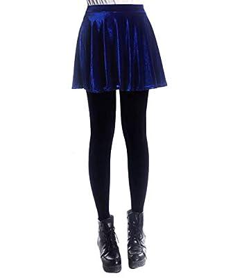 Daxvens Women's Vintage Velvet Stretchy Mini Flared Skater Skirt